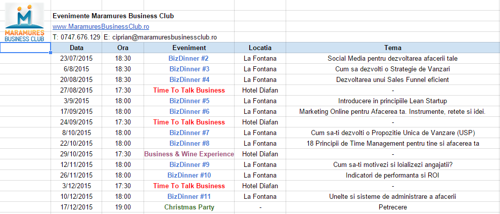 calendar evenimente maramures business club